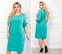 Платье женское с брошкой, креп, модель 130 батал, цвет - мята