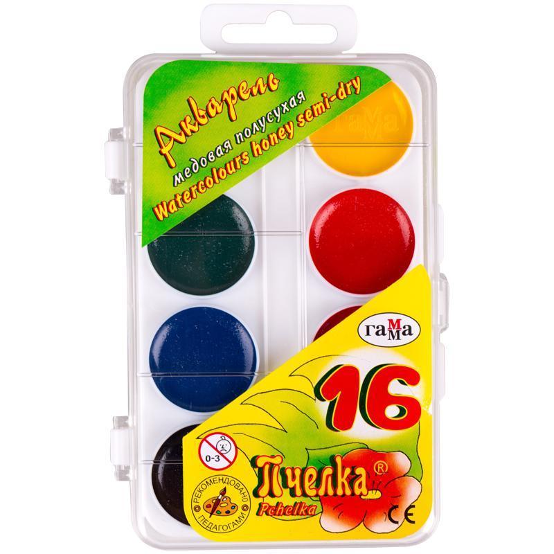 Детские акварельные краски гамма 16 цветов мультики