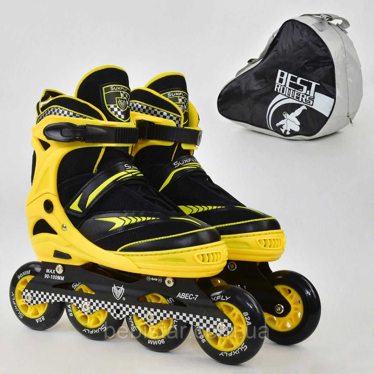 Детские роликовые коньки желтые 6014 L Best Roller размер 39-42 полиуретановые колеса