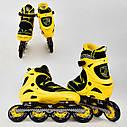Детские роликовые коньки желтые 6014 L Best Roller размер 39-42 полиуретановые колеса, фото 2