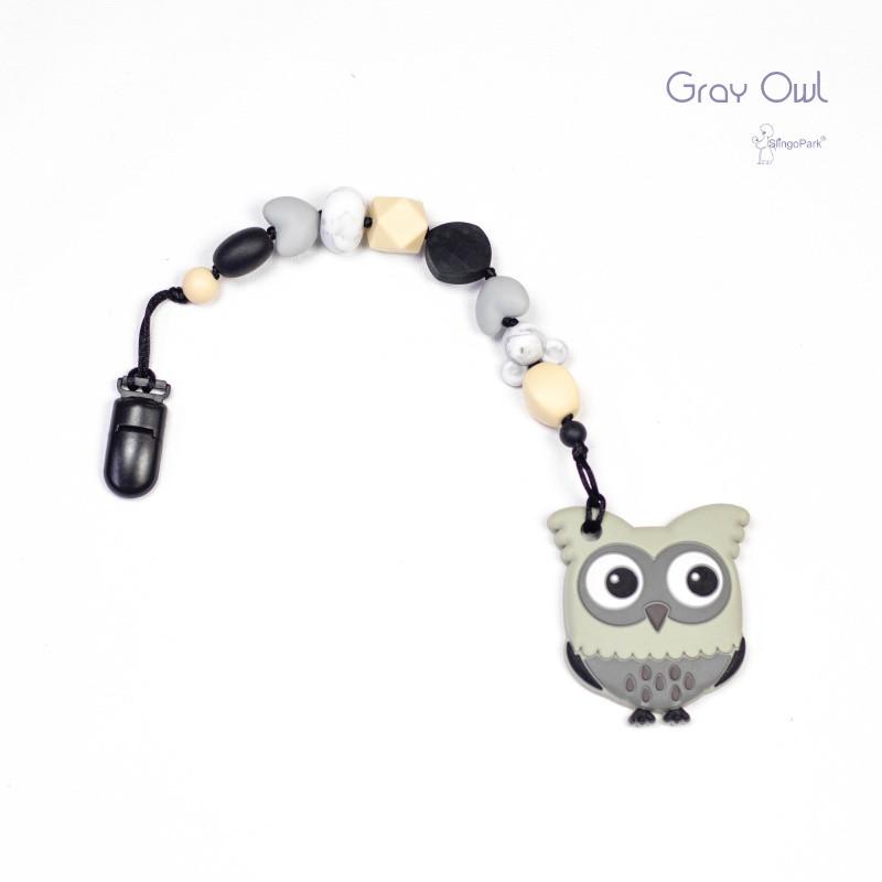 Грызунок из пищевого силикона BABY MILK TEETH Gray Owl