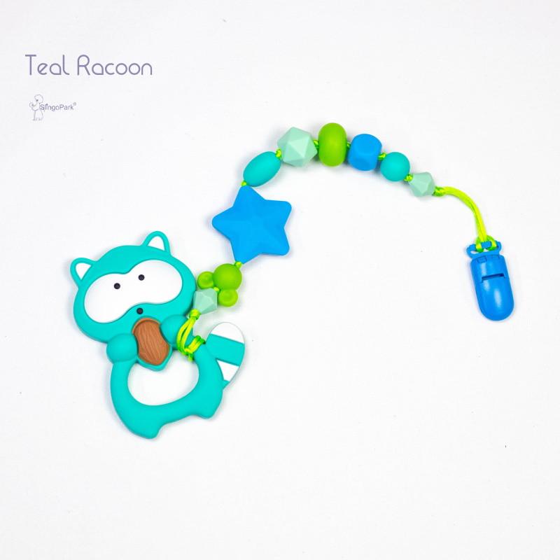 Грызунок из пищевого силикона BABY MILK TEETH Teal Racoon