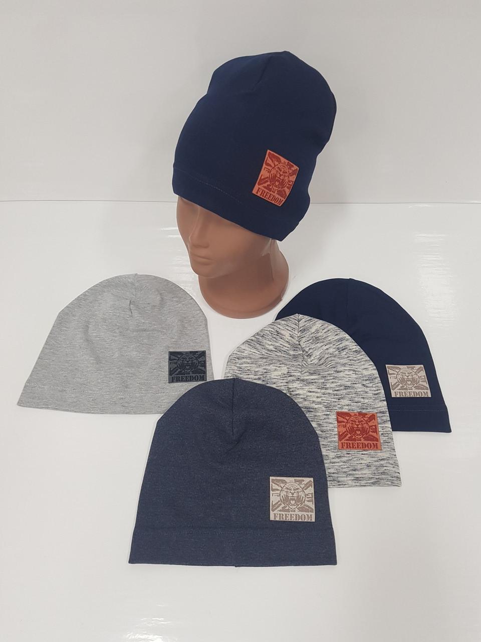 Детские демисезонные трикотажные шапки для мальчиков оптом, р.46-48, 50-52 Ala Baby (Польша)