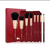Набор профессиональных кистей  DUcare Beauty Pro brush set with Bag 8 red