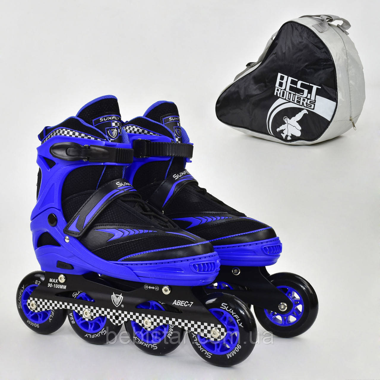 Детские роликовые коньки синие 6014 L Best Roller размер 39-42 полиуретановые колеса
