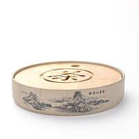Чабань круглая Горы (керамика/бамбук) (21,2 * 21,2 * 4,4)
