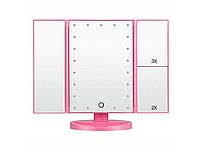 Зеркало Superstar Magnifying Mirror для макияжа с LED-подсветкой Розовый
