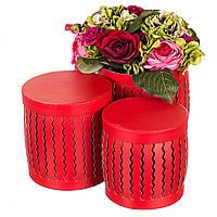 """Набор стильных подарочных коробок """"Зигзаг"""" 3шт. красные 20х20 см, фото 1"""