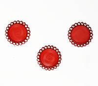 Крышка для кабошона со стразами (красная) 3,6 см (внутр 2,5 см)