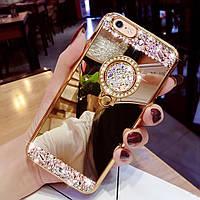 Чехол  для IPhone 7 Plus/8 plus силиконовый  с камнями  с кольцом-подставкой gold