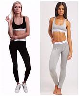 Двойка! Черный женский спортивный комплект, топ + лосины, размер M