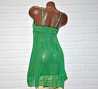Размер S. Зеленый комплект откровенного женского белья, секси пеньюар платье сетка и трусы стринги