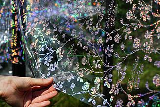 Клеенка силиконовая прозрачная с эффектом голограммы узор цветы, фото 2
