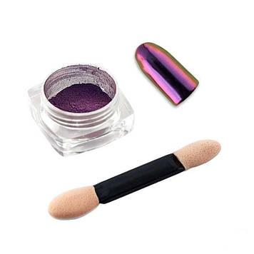 """Зеркальная пудра для втирки """"Майский Жук"""" Starlet Professional 01, цвет фиолетовый, с аппликатором"""