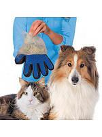 Щетка для животных Перчатка для вычесывания шерсти True Touch Черно-синяя на правую руку