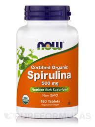 NOW Спирулина Spirulina 500 mg organic100 tabs