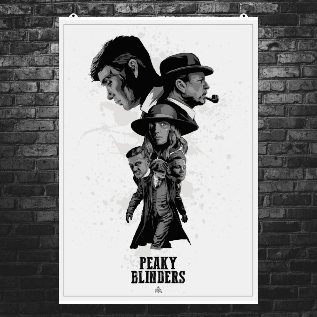 """Постер """"Peaky blinders"""", Острые козырьки, белый фон. Размер 60x43см (A2). Глянцевая бумага"""