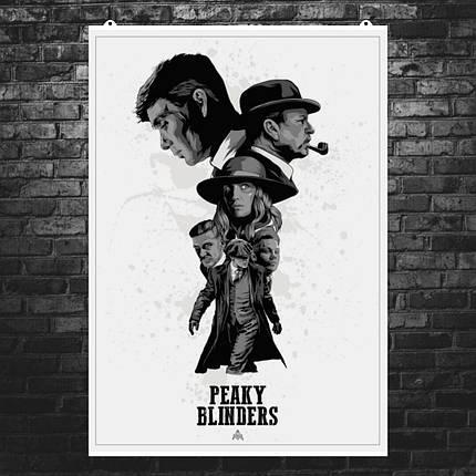 "Постер ""Peaky blinders"", Острые козырьки, белый фон. Размер 60x43см (A2). Глянцевая бумага, фото 2"