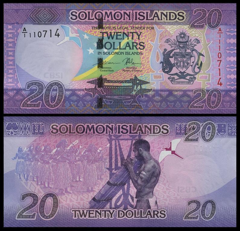Соломоновы острова 20 долларов 2017 год состояние UNC