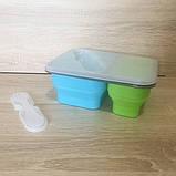 Ланч-бокс складной силиконовый 2в1 с пластиковой крышкой, фото 2