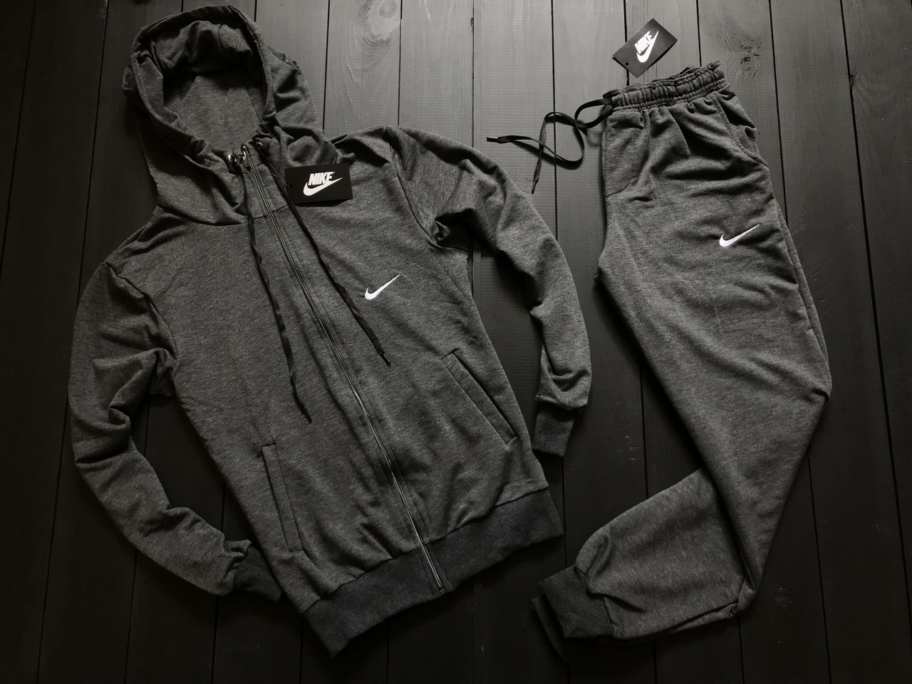 Мужской весенний спортивный костюм Nike (Gray), серый спортивный костюм, (Реплика ААА)