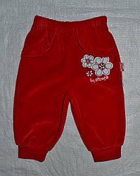 Детские велюровые штаны красные для девочки р. 68-86 см (Nicol, Польша)