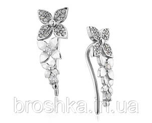 Серебряные серьги клаймберы цветы, фото 2
