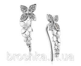 Серебряные серьги клаймберы цветы