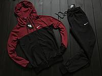 Мужской весенний спортивный костюм Nike (burgundy/black), черно-бордовый спортивный костюм, (Реплика ААА)