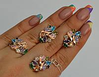Серебряный гарнитур набор сережки кольцо все размеры разные цвета