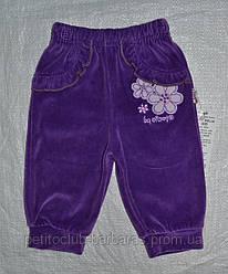 Детские велюровые штаны фиолетовые для девочки р. 68-80 см (Nicol, Польша)