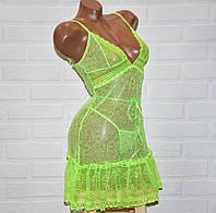 Откровенный комплект ночного женского белья, салатовый секси пеньюар-платье и трусы стринги, размер M