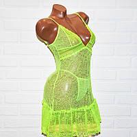 Кружевной комплект откровенного женского белья, секси пеньюар платье и трусы стринги, размер S