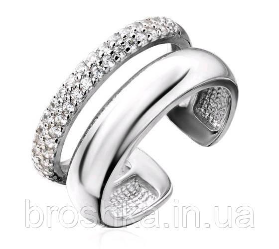 Массивное серебряное открытое кольцо с камнями