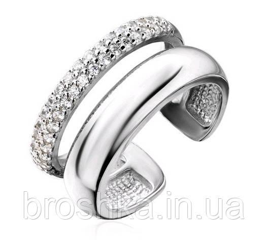 Массивное серебряное открытое кольцо с камнями, фото 2