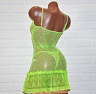Размер L.Салатовый комплект прозрачного ночного женского белья, кружевной секси пеньюар и трусы стринги,