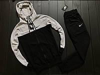 Мужской весенний спортивный костюм Nike (light gray/black), черно-серый спортивный костюм, (Реплика ААА), фото 1