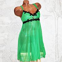 Зеленый комплект ночного женского белья, секси пеньюар платье сетка и трусы стринги, размер M