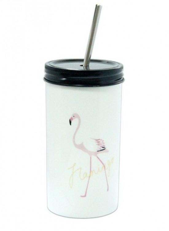 Стакан с трубочкой Розовый Фламинго