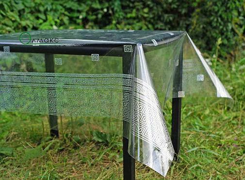 Клеенка-скатерть силиконовая с эффектом голограммы, прозоре покриття на стіл с малюнком в грецькому стилі, фото 2