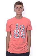 Яркая футболка для мужчин с круглым вырезом и стильным принтом. Цвет персиковый. Бренд JAZZ.