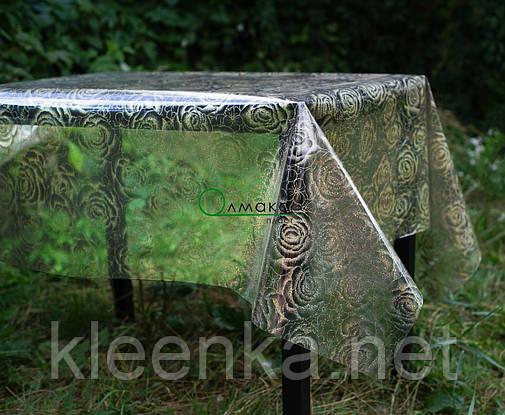 Клеенка прозрачная на стол с голограммным рисунком Розы, очень красивая!, фото 2