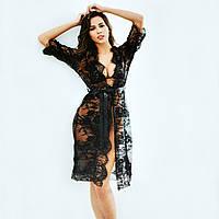 Черный комплект женского откровенного, сексуального белья халат, бюстгальтер (лиф) и трусы стринги, размер M