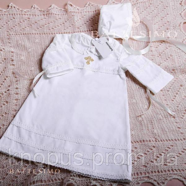 Крестильная рубашка  с шапочкой для крещения мальчика / девочки, белая/молочная ТМ БАТТЕСИМО, возраст 0-24 мес