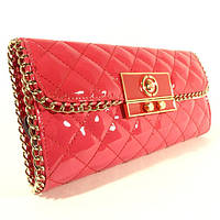 Клатч женский кожаный малиновый Chanel 068