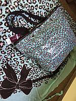 Яркая сумка пляжная в прозрачном чехле с леопардовым принтом