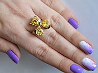 Серебряное кольцо с золотыми пластинами все размеры разные цвета камней