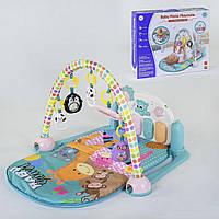 Детский коврик с погремушками-подвесками и пианино