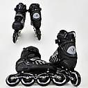 Детские роликовые коньки серые 9015 М Best Roller размер 35-38 полиуретановые колеса, фото 2