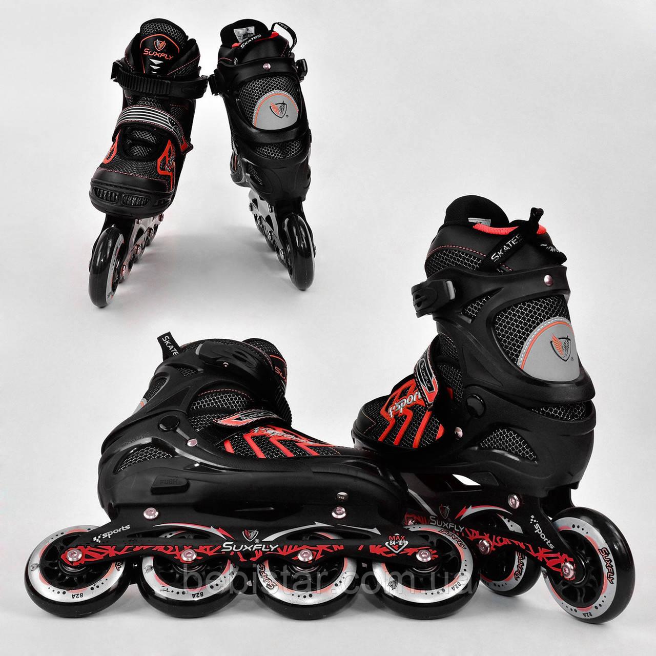 Детские роликовые коньки красные 9015 М Best Roller размер 35-38 полиуретановые колеса